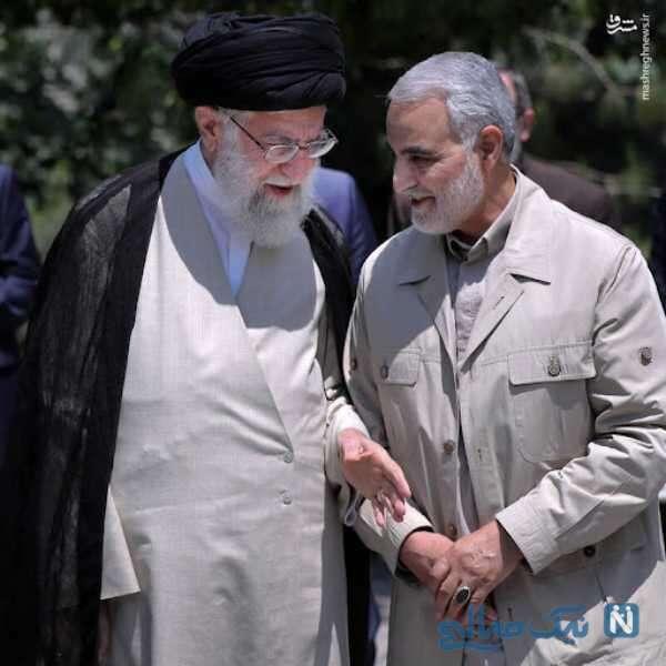 سید علی خامنه ای و شهید سلیمانی