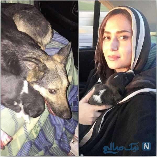 عکس از پریناز ایزدیار و سگش