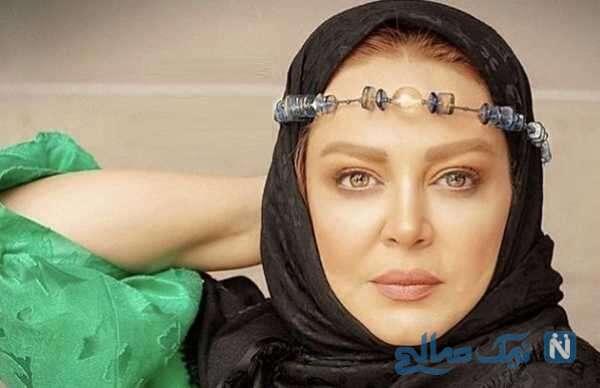 ست پلنگی روسری و لباس بهاره رهنما بازیگر زن در طبیعت دل انگیز