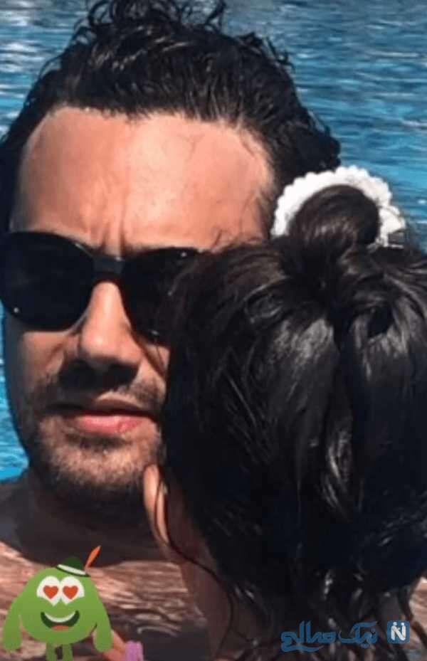 شنای شاهرخ استخری و دخترش