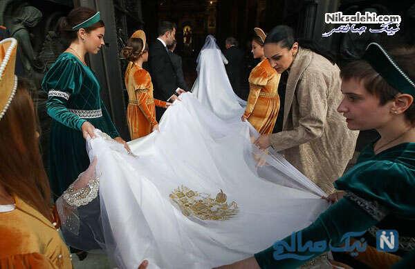 دنباله ی بسیار بلند لباس عروس ربکا