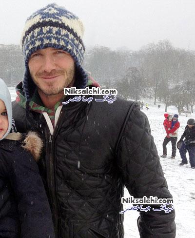 برف بازی دیوید بکهام و پسرانش