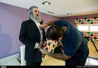 گزارش تصویری پشت صحنه سریال ابله تبریزی و گریم متفاوت مجید صالحی