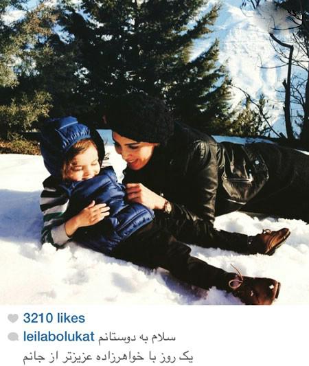 برف بازی لیلا بلوکات در کنار خواهرزاده اش+عکس
