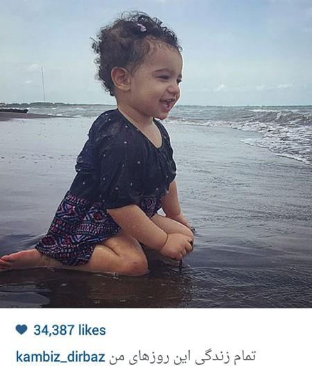دختر بانمک کامبیز دیرباز در ساحل+عکس