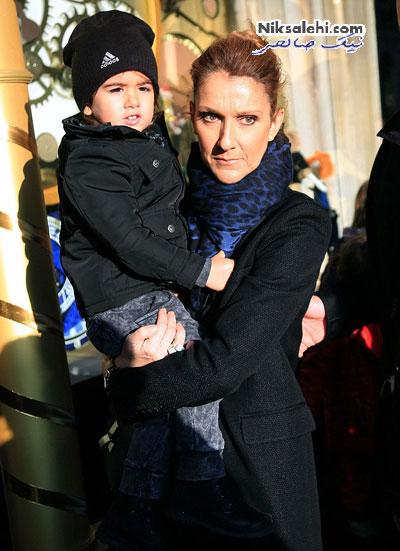 سلن دیان و دوقلوهایش در هوای سرد پاییزی پاریس
