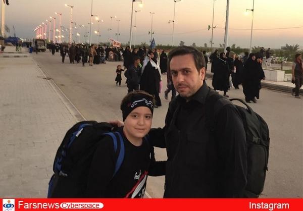 مجری تلویزیون و فرزندش در پیادهروی اربعین تصاویر