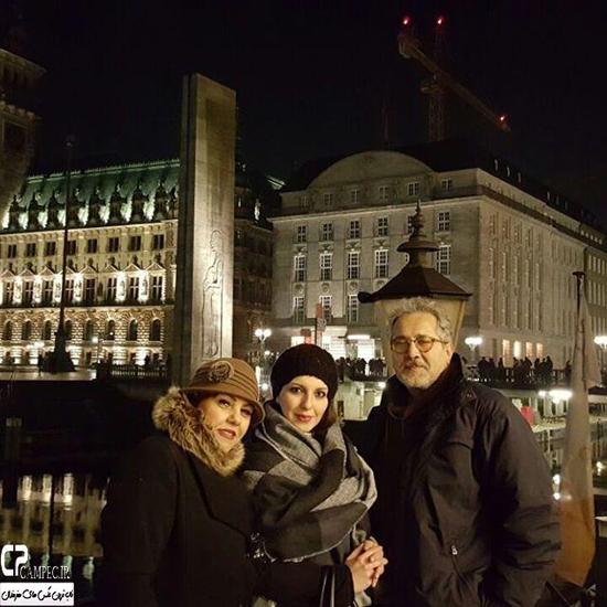 افسانه چهره آزاد با همسرش در خارج از کشور