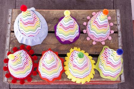 ساخت کاردستی کلاه تولد با طرح رنگین کمان  تصاویر
