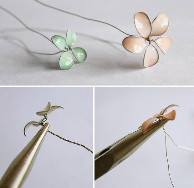 آموزش ساخت ساخت گل سربسیار شیک با سیم و لاک ناخن