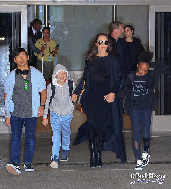 بازگشت آنجلینا جولی و فرزندانش پس از ملاقات با برد پیت