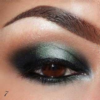 آموزش آرایش چشم به رنگ سبز و دودی  تصاویر