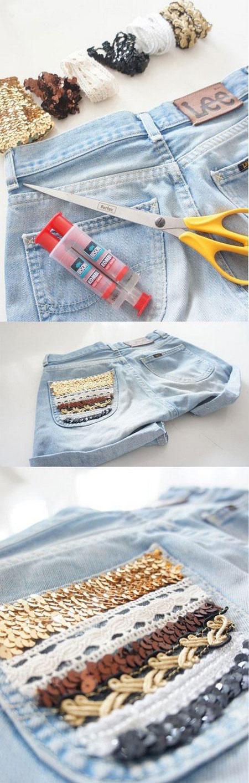 آموزش تزئین شلوارک جین دخترانه با مهره  تصاویر