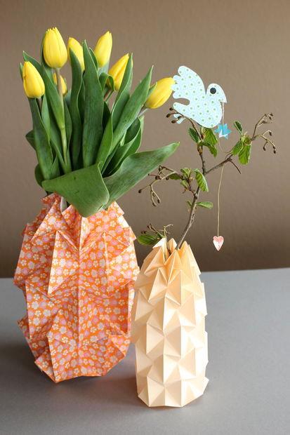 ساخت کاردستی گلدان کاغذی با هنر اوریگامی  تصاویر