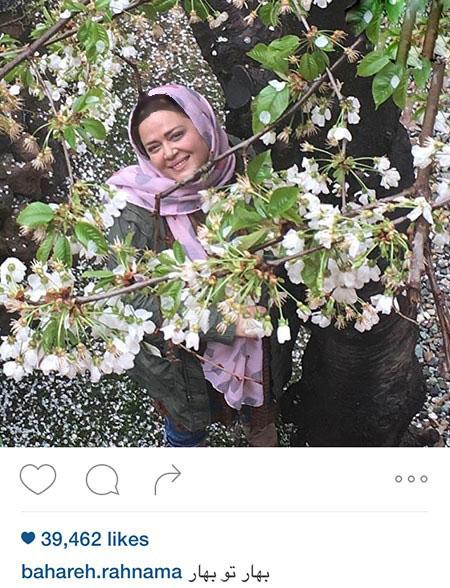 بهاره رهنما در میان گلهای بهاری و تیپ عجیب دخترش! تصاویر