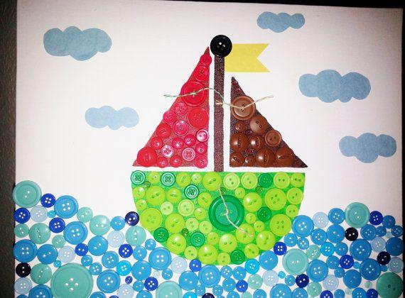 کاردستی با دکمه های رنگی طرح بالون و دریا  تصاویر