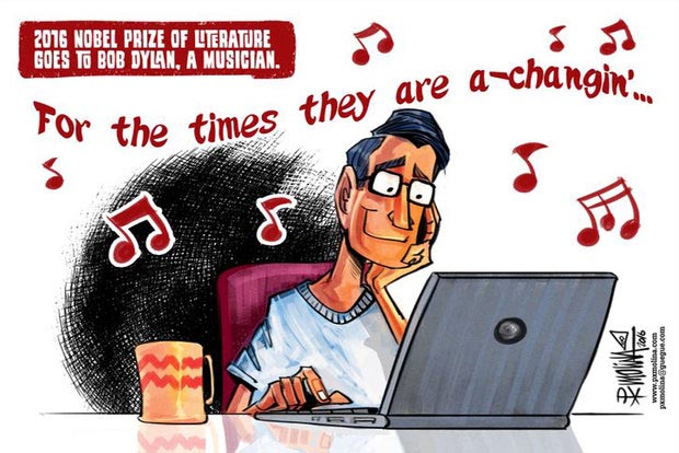 مجموعه کاریکاتور اعطای جایزه نوبل ادبیات به یک موسیقیدان