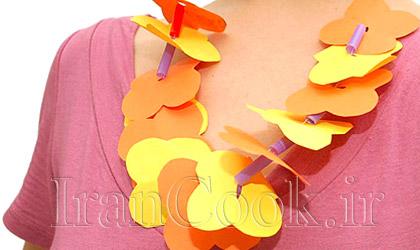 ساخت کاردستی گردنبند گل کاغذی  تصاویر