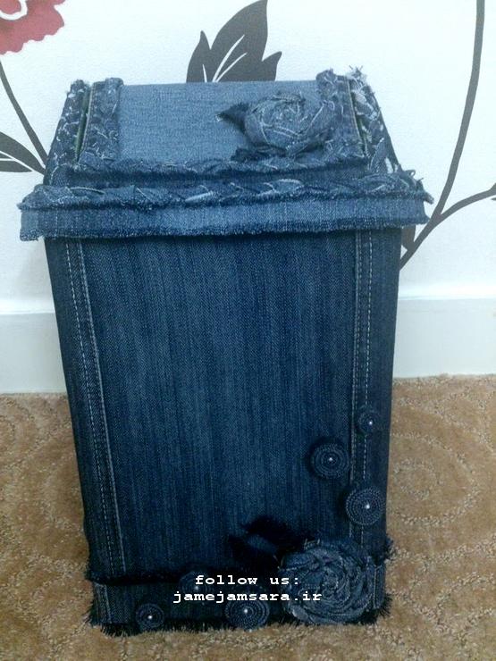 تزئین سطل آشغال با لباسهای کهنه  عکس