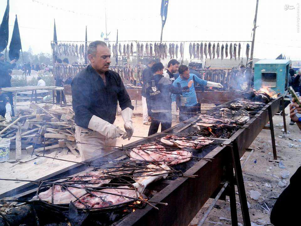 Image result for پخت کباب ماهی مخصوص زائران اربعین حسینی