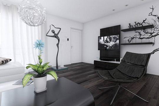 دکوراسیون داخلی منزل سیاه و سفید