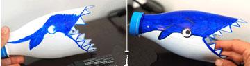 آموزش کاردستی کوسه با بطری پلاستیکی  تصاویر