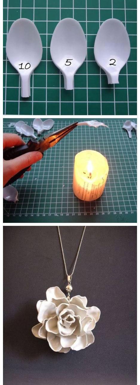 ساخت گردنبند زیبا با قاشق  تصاویر