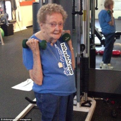 تمرین های ورزشی سخت پیرزن 97 ساله