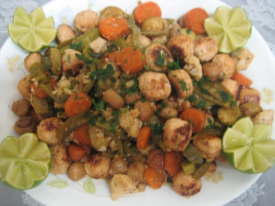 خوراک مرغ و سبزیجات، یک غذای فوری، مخصوص بانوان مشغول به خونه تکونی!!