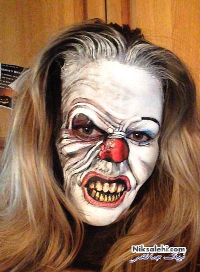 آرایش های ترسناک زنی روی صورت خودش