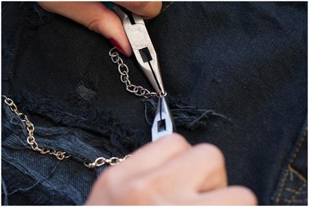 آموزش تزئین شلوارک با زنجیر