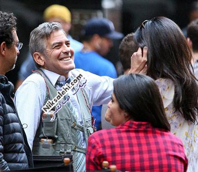جورج کلونی و همسرش سرصحنه فیلم برداری فیلم جدیدش