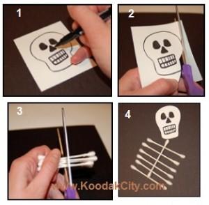 کاردستی آسان و جالب اسکلت با گوش پاک کن  تصاویر