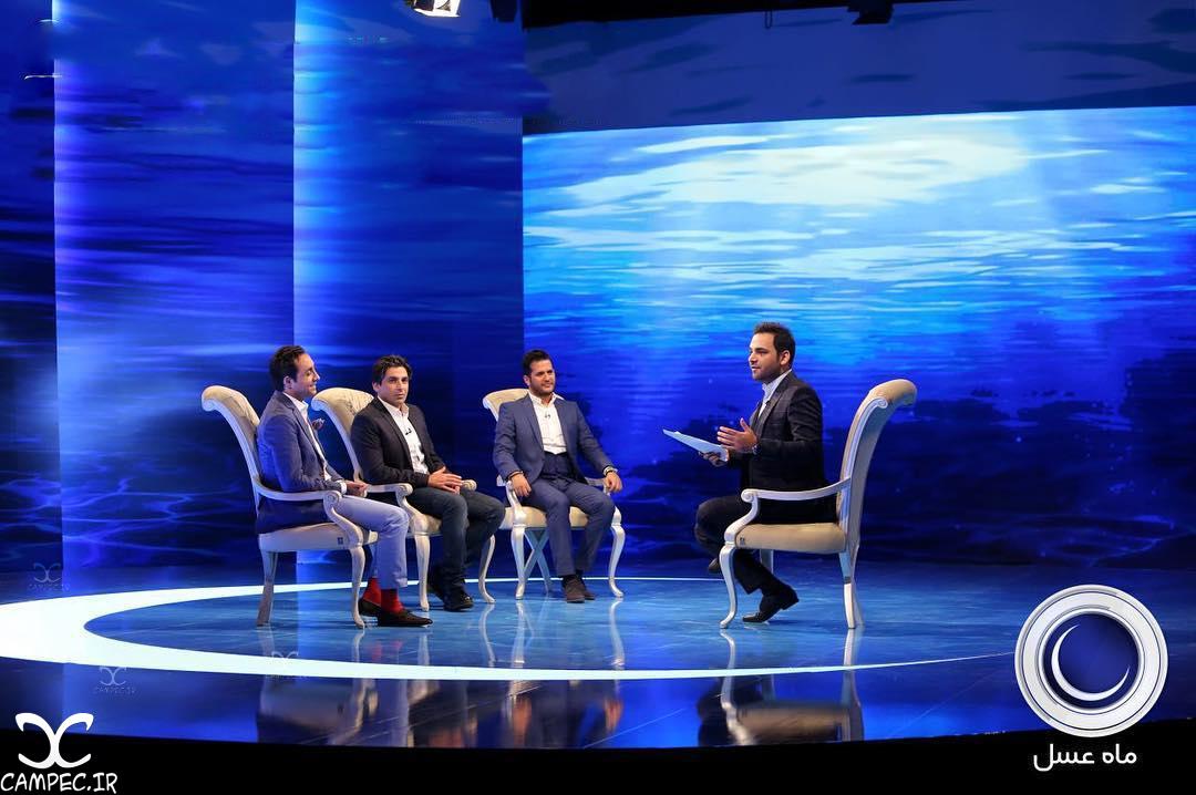 عکس های دیدنی بازیگران در پشت صحنه اولین قسمت برنامه ماه عسل 95