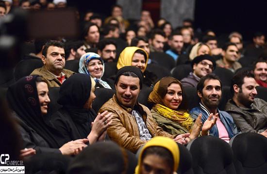 جواد عزتی و همسرش مه لقا باقری در اکران فیلم در مدت معلوم