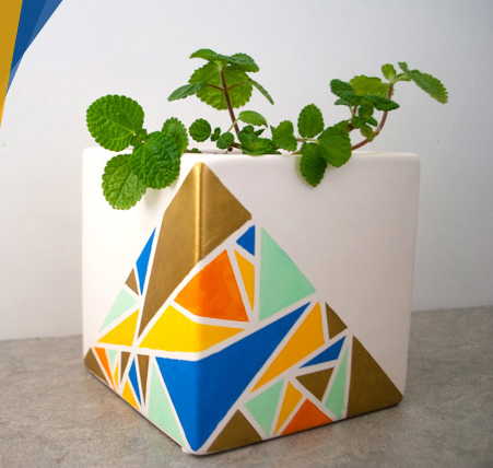 گلدانی زیبا با طرح های هندسی بسازید/ آموزش ساخت
