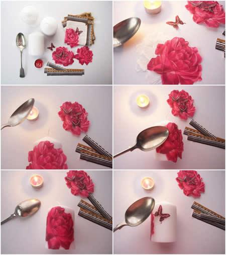 آموزش دکوپاژ شمع زیبا برای سفره هفت سین تصاویر