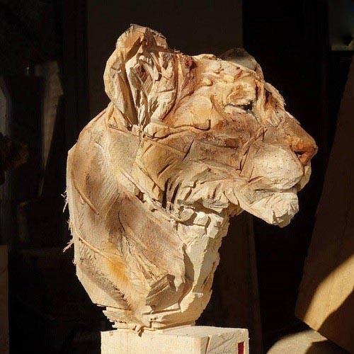 ساخت مجسمه های چوبی زیبا با اره برقی! تصاویر