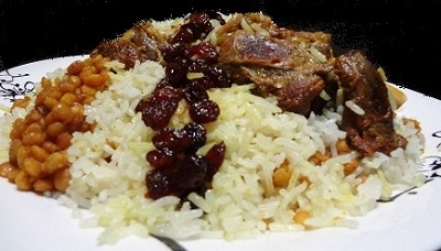 لپه کشمش پلو با ماهیچه، غذای سنتی لذیذ و مقوی! عکس