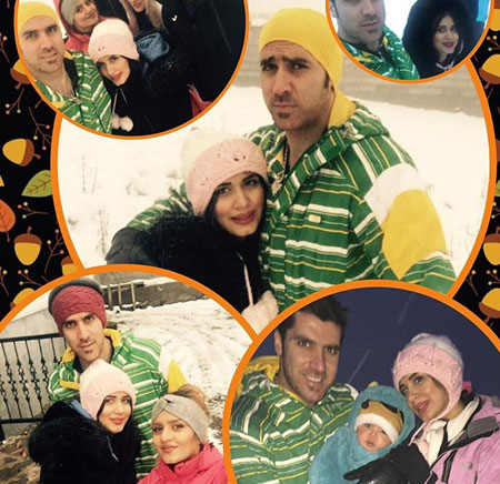 شهرام محمودی در کنار همسرش سوگند و پسرش تصاویر