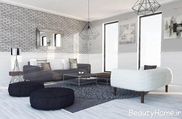 دکوراسیون اتاق پذیرایی سیاه و سفید با طراحی های جدید