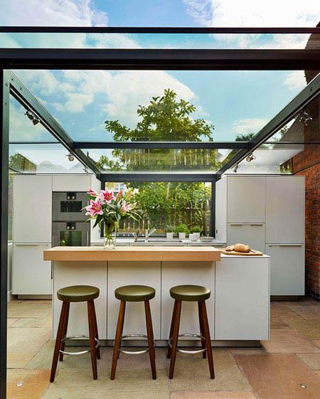 ایده بسیار جذاب آشپزخانه شیشه ای بر روی بام تصاویر