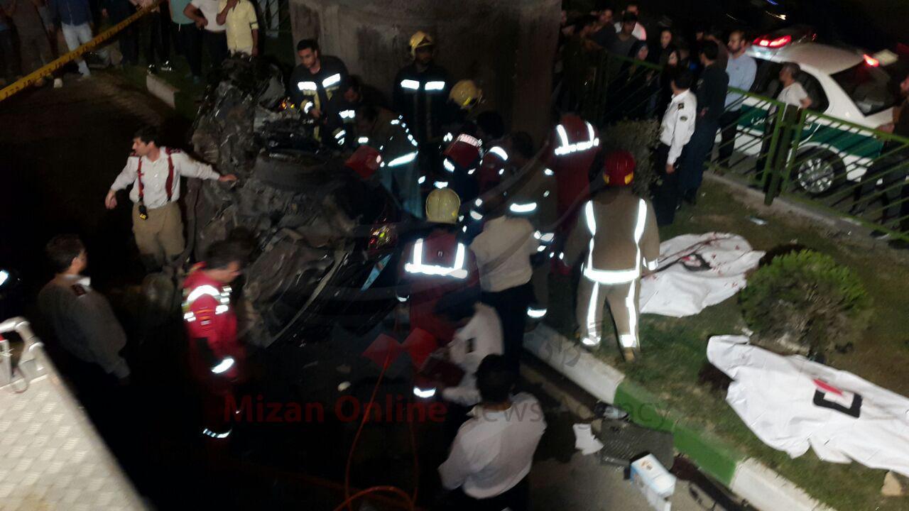 تصاویر تصادف وحشتناک اتوبان بابایی که منجر به مرگ سه دختر و پسر جوان شد