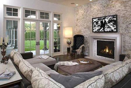 ایده هایی برای دیوارهای سنگی در اتاق پذیرایی  تصاویر