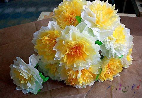 ساخت کاردستی گل با کاغذ کشی  تصاویر