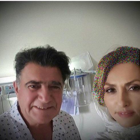 امین حیایی با ملک مطیعی در بیمارستان وسلفی شجریان با همسرش تصاویر