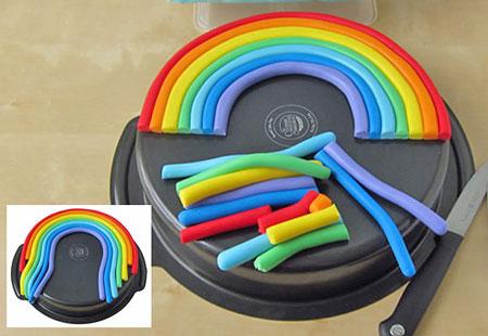 آموزش تصویری تزیین کیک رنگین کمانی