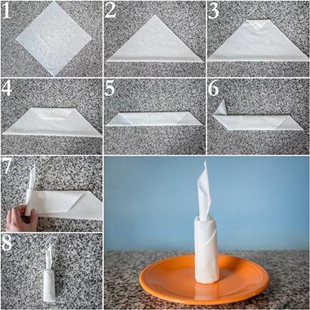 تزیین دستمال سفره به شکل شمع زیبا