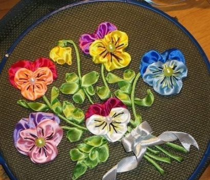 آموزش تصویری دوختن گل بنفشه! تصاویر