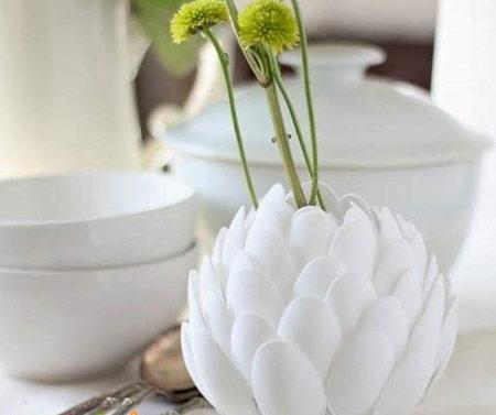آموزش ساخت گلدان بسیار زیبا با قاشق یکبار مصرف!